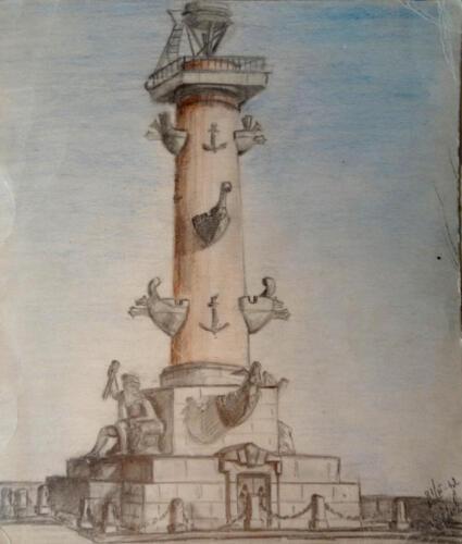 1962. Ростральная колонна, карандаш