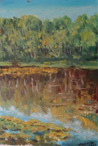 1995. Лес и озеро, масло