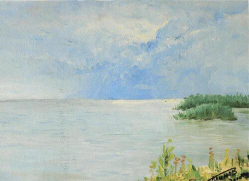 2000. Кушский залив. Облака, масло