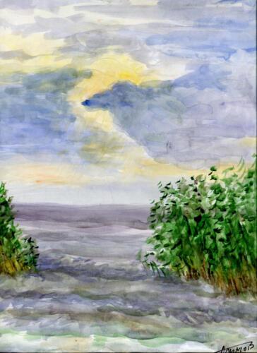 2004. Рыбачий. Прибрежные заросли, акварель