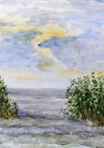 2009. Куршский залив, акварель