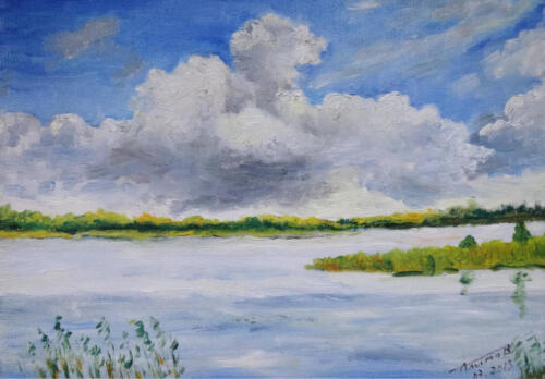 2013. Облака над озером, масло